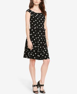 Lauren Ralph Lauren Petite Polka-Dot-Print Dress