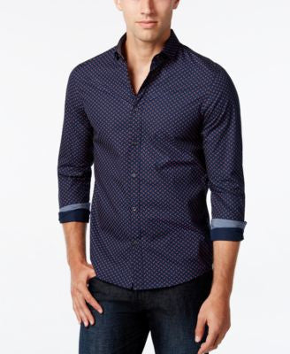 Michael Kors Men's Slim-Fit Geometric Long-Sleeve Shirt