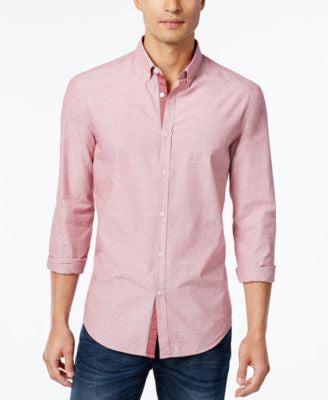 Hugo Boss Red Men's Baldsar Dobby Weave Long-Sleeve Shirt