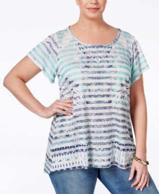 Style & Co. Plus Size Printed Short-Sleeve Tunic, Only at Vogily