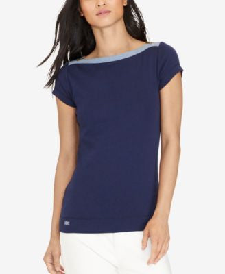Lauren Ralph Lauren Zip-Shoulder T-Shirt