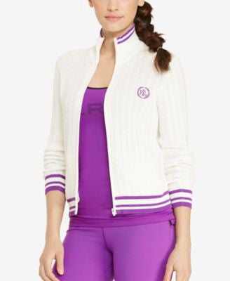 Lauren Ralph Lauren Cable-Knit Full-Zip Sweater
