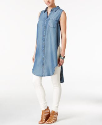 Velvet Heart Cannes High-Low Denim Tunic Shirt