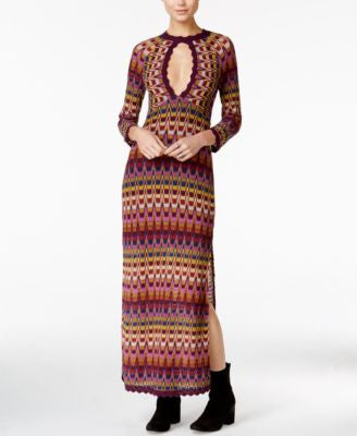 Free People Good Vibration Printed Cutout Maxi Dress