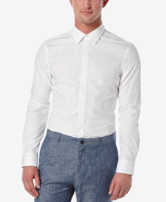 Perry Ellis Men's Slim-Fit Broken-Line Long-Sleeve Shirt