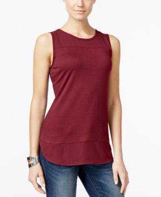 INC International Concepts Petite Mixed-Media Tank Top, Only at Vogily