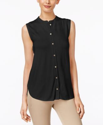Calvin Klein Sleeveless Pleated-Back Blouse