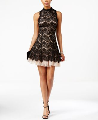 Betsy & Adam High-Neck Lace A-Line Dress