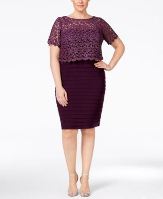 Betsy & Adam Plus Size Lace Pleated Sheath Dress