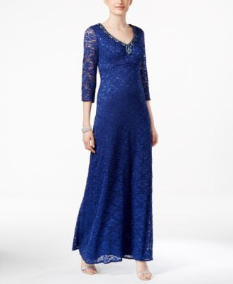 Alex Evenings Empire-Waist Lace Gown