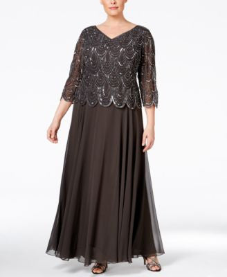J Kara Plus Size Beaded V-Neck Gown