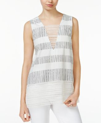 RACHEL Rachel Roy Printed Crochet-Lace Top