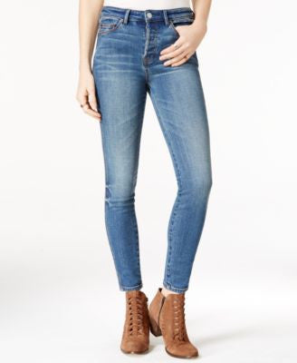 Free People Medium Blue Wash Jeans Relaxed Skinny Jeans