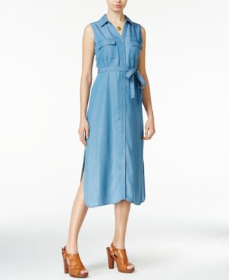 Maison Jules Denim Midi Shirtdress, Only at Vogily