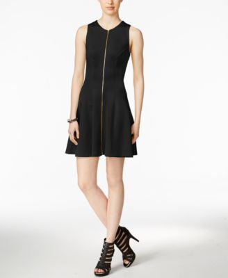 Bar III Zip-Front Fit & Flare Scuba Dress, Only at Vogily