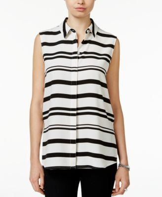 Bar III Striped Sleeveless Shirt, Only at Vogily