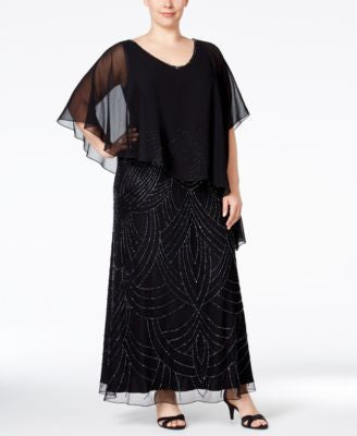 J Kara Plus Size Beaded Capelet Gown