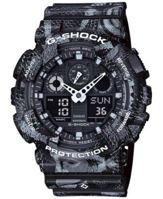 G-Shock Men's Analog-Digital Marcelo Burlon Collaboration Black and White Resin Strap Watch 55x51mm