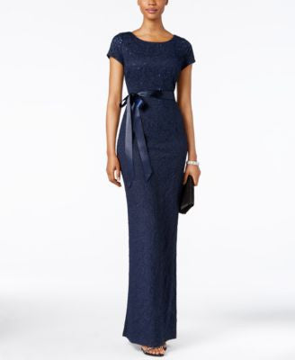 Adrianna Papell Short-Sleeve Beaded Jacquard Gown
