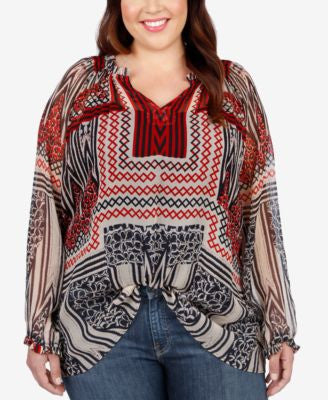 Lucky Brand Trendy Plus Size Long-Sleeve Printed Blouse