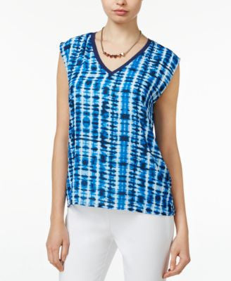 Bar III Printed Cap-Sleeve Top, Only at Vogily