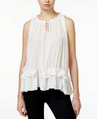 Bar III Ruffled Babydoll Peasant Top, Only at Vogily