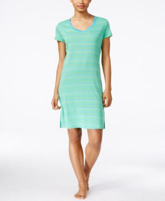 Lauren Ralph Lauren Striped V-Neck Sleepshirt