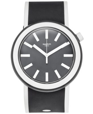 Swatch Unisex Swiss Pop Black and White Silicone Strap Watch 41mm PNB100
