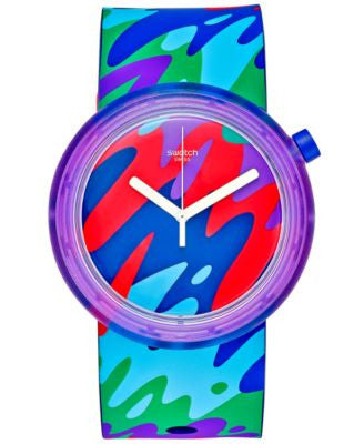 Swatch Unisex Swiss Pop Multicolor Silicone Strap Watch 41mm PNP101