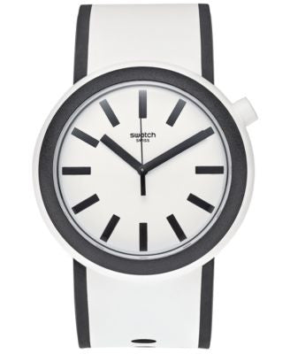 Swatch Unisex Swiss Pop White and Black Silicone Strap Watch 41mm PNW100
