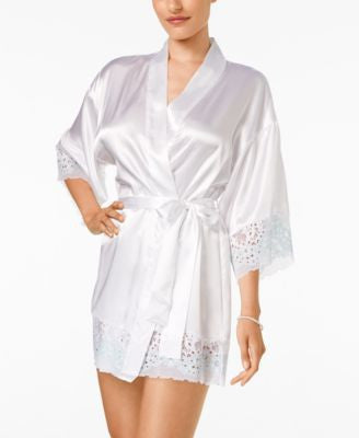 Flora by Flora Nikrooz Adore Charmeuse and Lace Kimono Robe