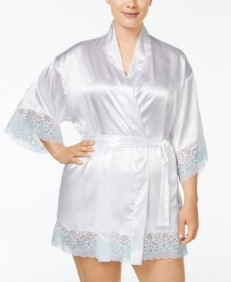 Flora by Flora Nikrooz Plus Size Adore Charmeuse and Lace Kimono Robe