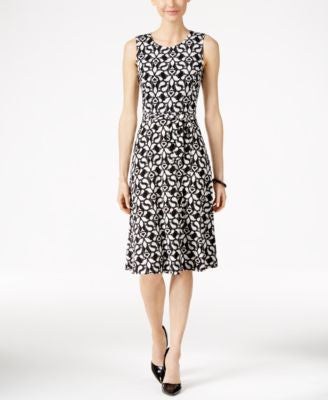 Charter Club Printed Fit & Flare Dress, Only at Vogily