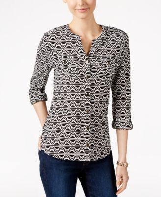 Charter Club Printed Button-Front Shirt, Only at Vogily