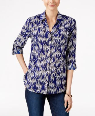 Charter Club Petite Giraffe-Print Shirt, Only at Vogily