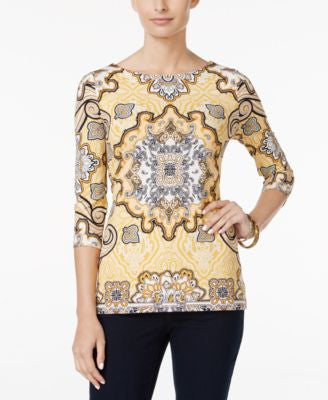Charter Club Paisley Boat-Neck Top, Only at Vogily