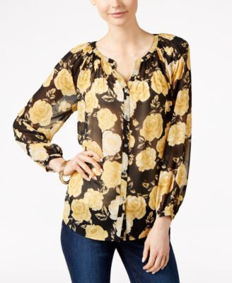 Charter Club Rose-Print Button-Front Blouse, Only at Vogily