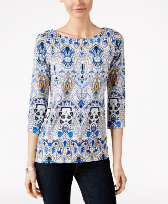 Charter Club Printed Boat-Neck Top, Only at Vogily