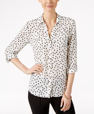 Charter Club Petite Dot-Print Shirt, Only at Vogily