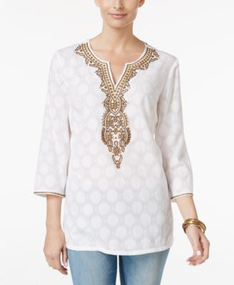 Charter Club Petite Embellished Jacquard Tunic, Only at Vogily