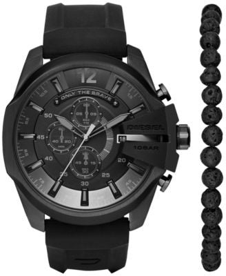 Diesel Men's Chronograph Chief Series Black Silicone Strap Watch and Bead Bracelet Box Set 51x59mm D
