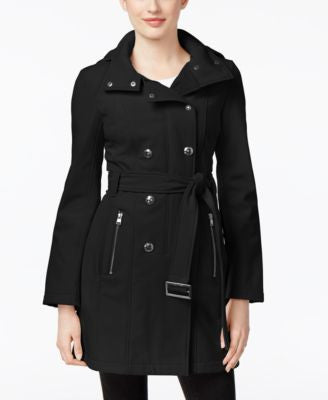 Calvin Klein Petite Double-Breasted Softshell Trench Coat
