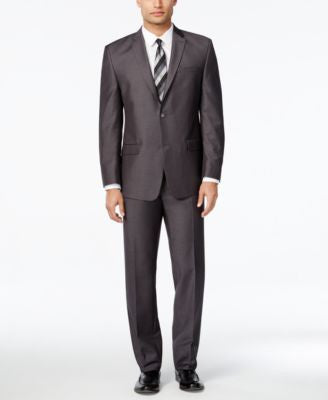Marc New York by Andrew Marc Men's Slim-Fit Dark Gray Pindot Suit