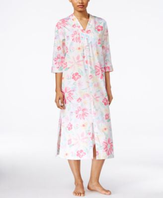Miss Elaine Floral-Print Long Zip-Front Robe