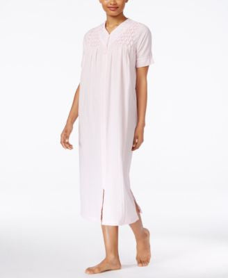 Miss Elaine Short-Sleeve Long Zip-Front Robe