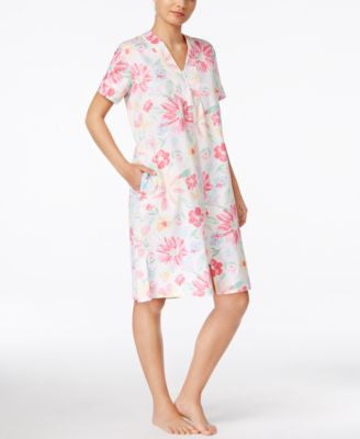 Miss Elaine Short-Sleeve Zip-Front Robe