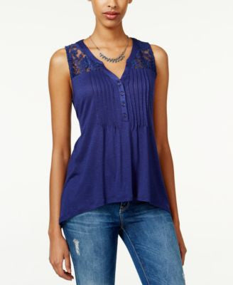 American Rag Crochet-Trim High-Low Top, Only at Vogily