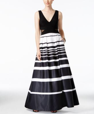 Xscape Illusion-Inset Striped Ball Gown