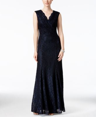 Tahari ASL Metallic Lace Surplice Gown