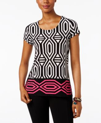 INC International Concepts Printed Tie-Back Blouse, Only at Vogily